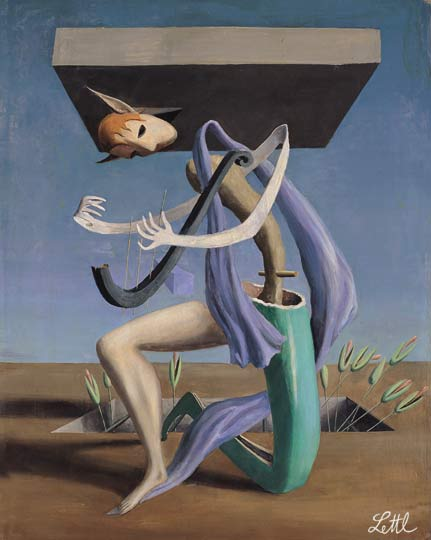 Wolfgang Lettl - Komposition mit der Harfe (Composition with Harp) 1956, 47x36 cm