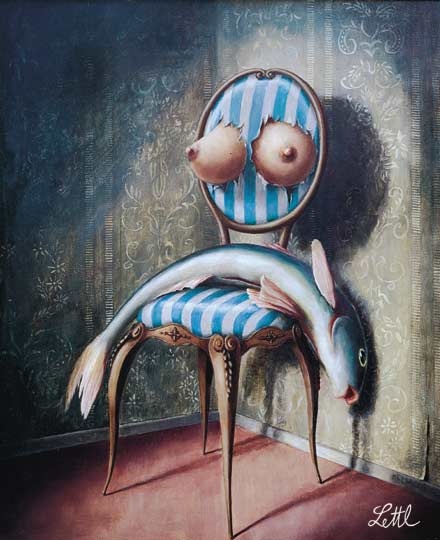 Wolfgang Lettl - Stuhlleben (Life in a Chair) 1975, 51x42 cm