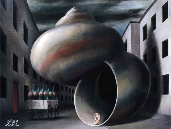 Wolfgang Lettl - Die Schnecke (The Snail) 1979, 57x75 cm
