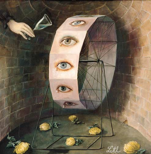 Wolfgang Lettl - Das Tränenrad (The Wheel of Tears) 1979, 42x44 cm